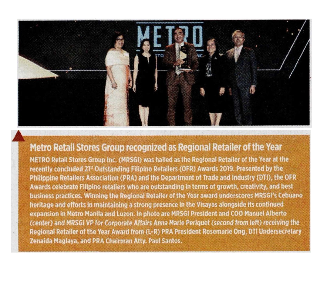Metro Retail Stores Group recognzed as Regional Retailer of the Year Business World