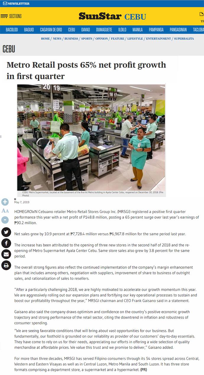 Metro Retail posts 65% net profit growth in first quarter - Sun Star